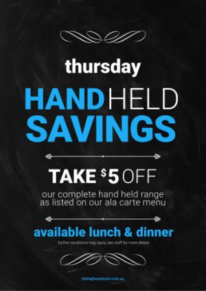 Thursday Hand Held Savings