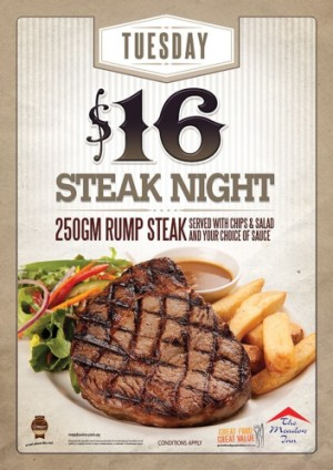 Tuesday $16 Steak Night