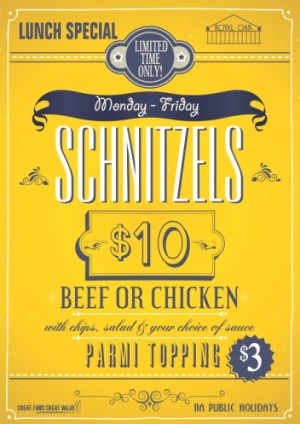 $10 Schnitzels and $13 Parmys