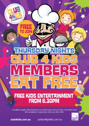 Club 4 Kids Members Eat Free