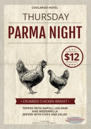 Thursday $12 Parma Night