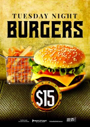Tuesday $15 Burgers