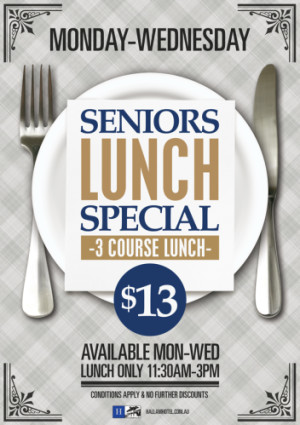 Monday - Wednesday Senior's Lunch Special